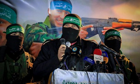 Hamas terrorists at Gaza rally